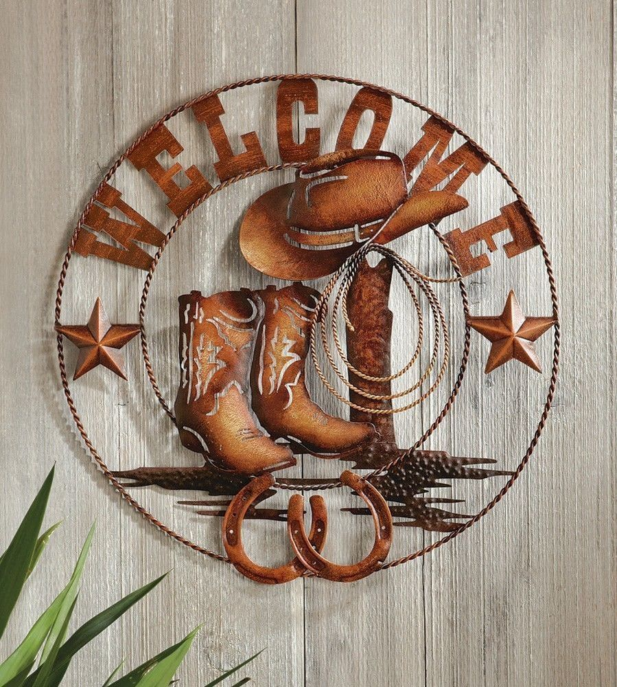 Delicieux Western Welcome Metal Wall Art Cowboy Cowgirl Horses Boots Star Horseshoes  Home