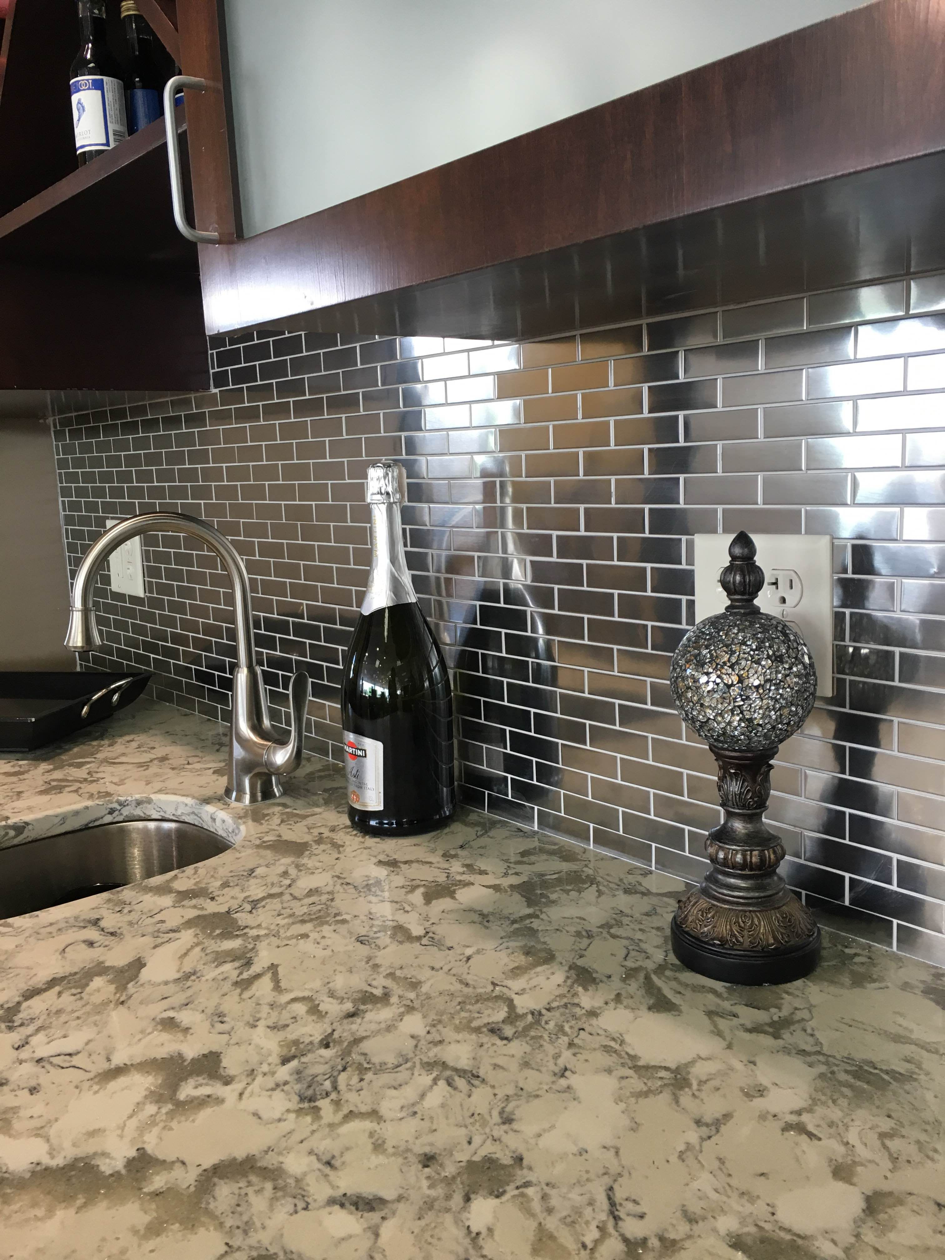 Amazing Stainless Steel Mosaic Tile 1 X2 Backsplash So Modern