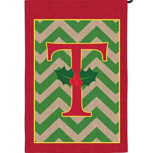 Holly Monogram T Burlap Garden Flag