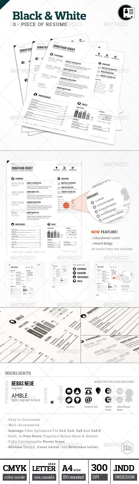 Black White Resume Cv Design Creative Cv And Design Resume