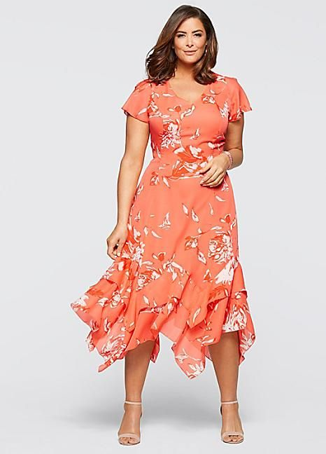 Floral Print Hanky Hem Dress in Coral also available in Mint