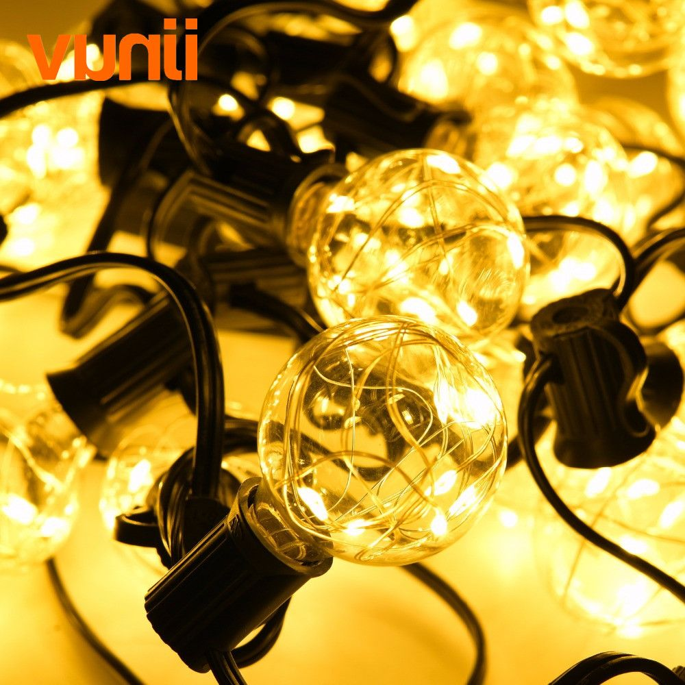 Yunji Novelty 8M 25 G40 Clear Globe String Lights Garland RGB