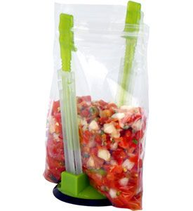 Countertop Storage Bag Holder ($3.99) - convenient way to load soups, salsas & more into storage bags w/o mess; uses adjustable clips to hold storage bags of any size open as you pour leftovers for long-term storage; dishwasher safe