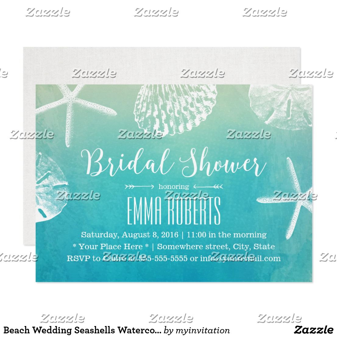 Beach Wedding Seashells Watercolor Bridal Shower Card Beach