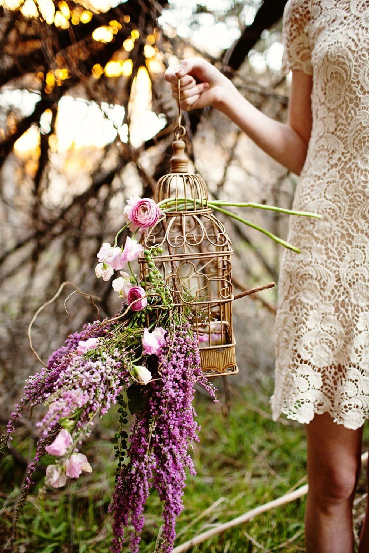 Arreglo de mesa Jaula con flores