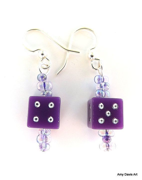 purple dice jewelry | Purple Dice Earrings School Colors Christmas Gift by AmyDavisArt