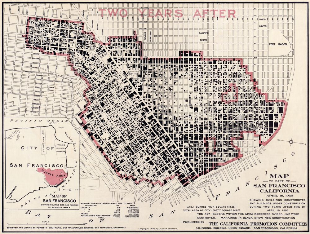 A map showing that 497 blocks in San Francisco were destroyed by