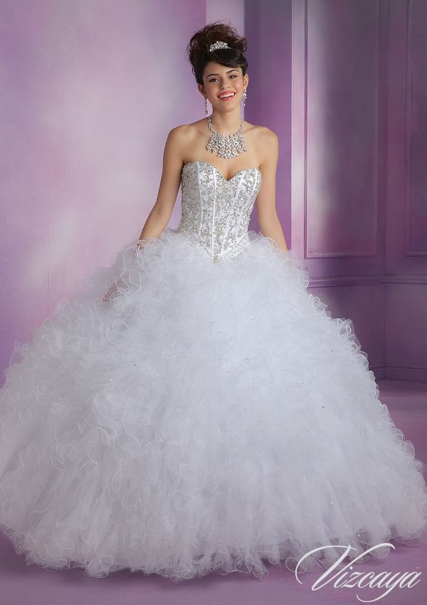 Quinceanera Dress  89005 Satin and Ruffled Tulle Quinceanera Dress with Beading