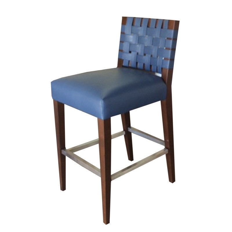 maplewood bar stool leather upholstery with back leather weaving by