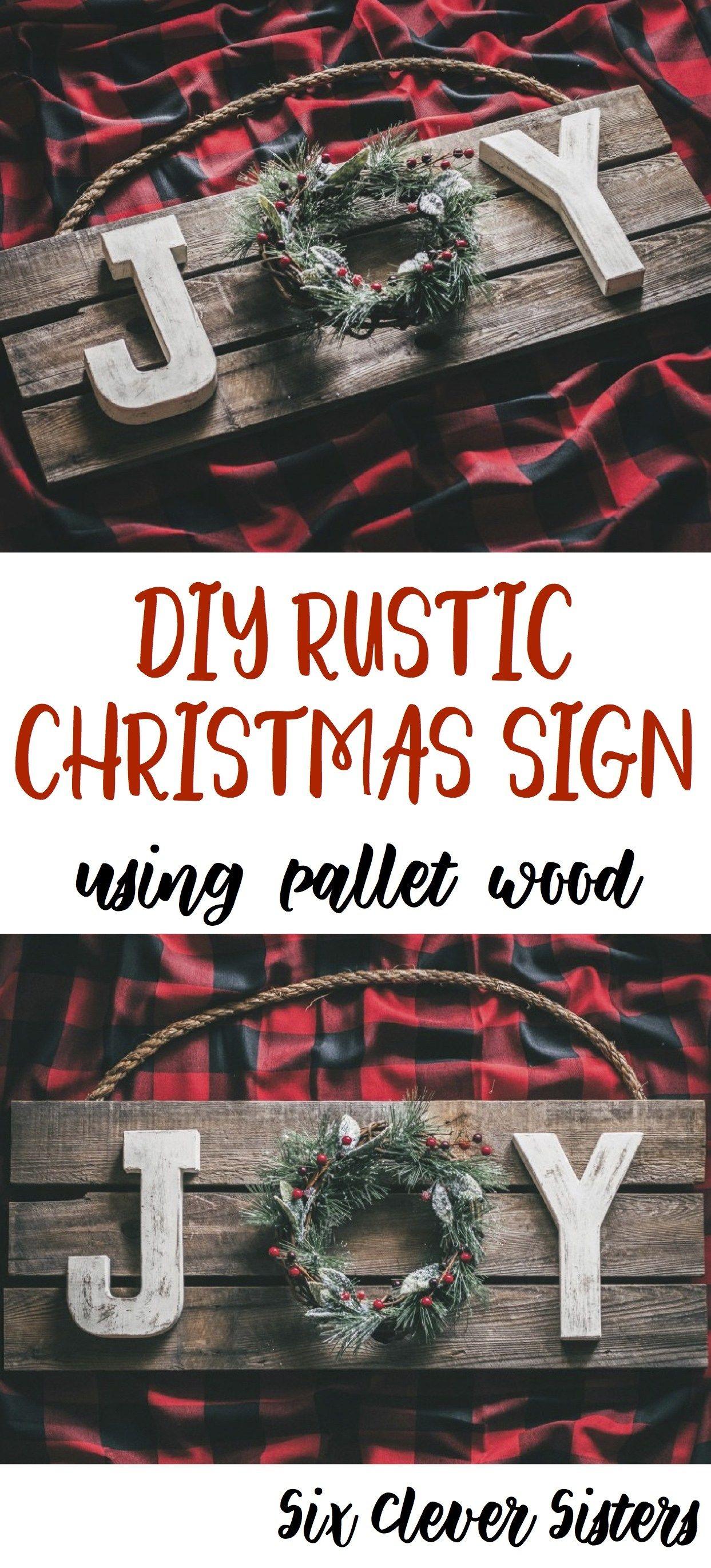 DIY Rustic Christmas Joy Sign Using Pallet Wood Xmas