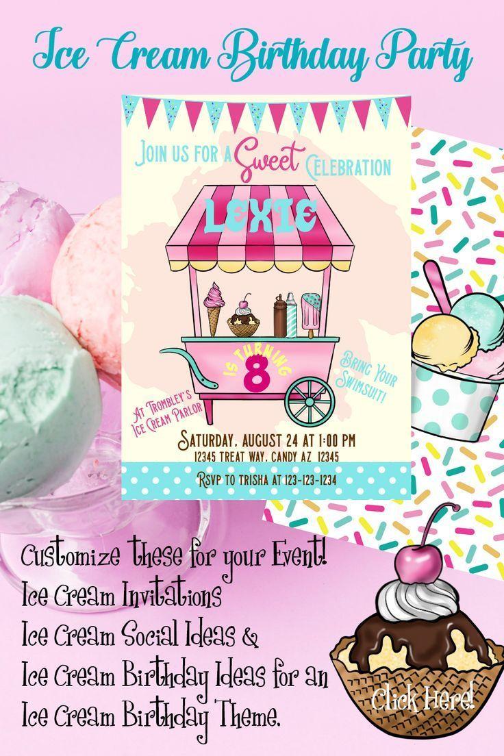Ice Cream Party Ice Cream Party Invitation Ice Cream Social