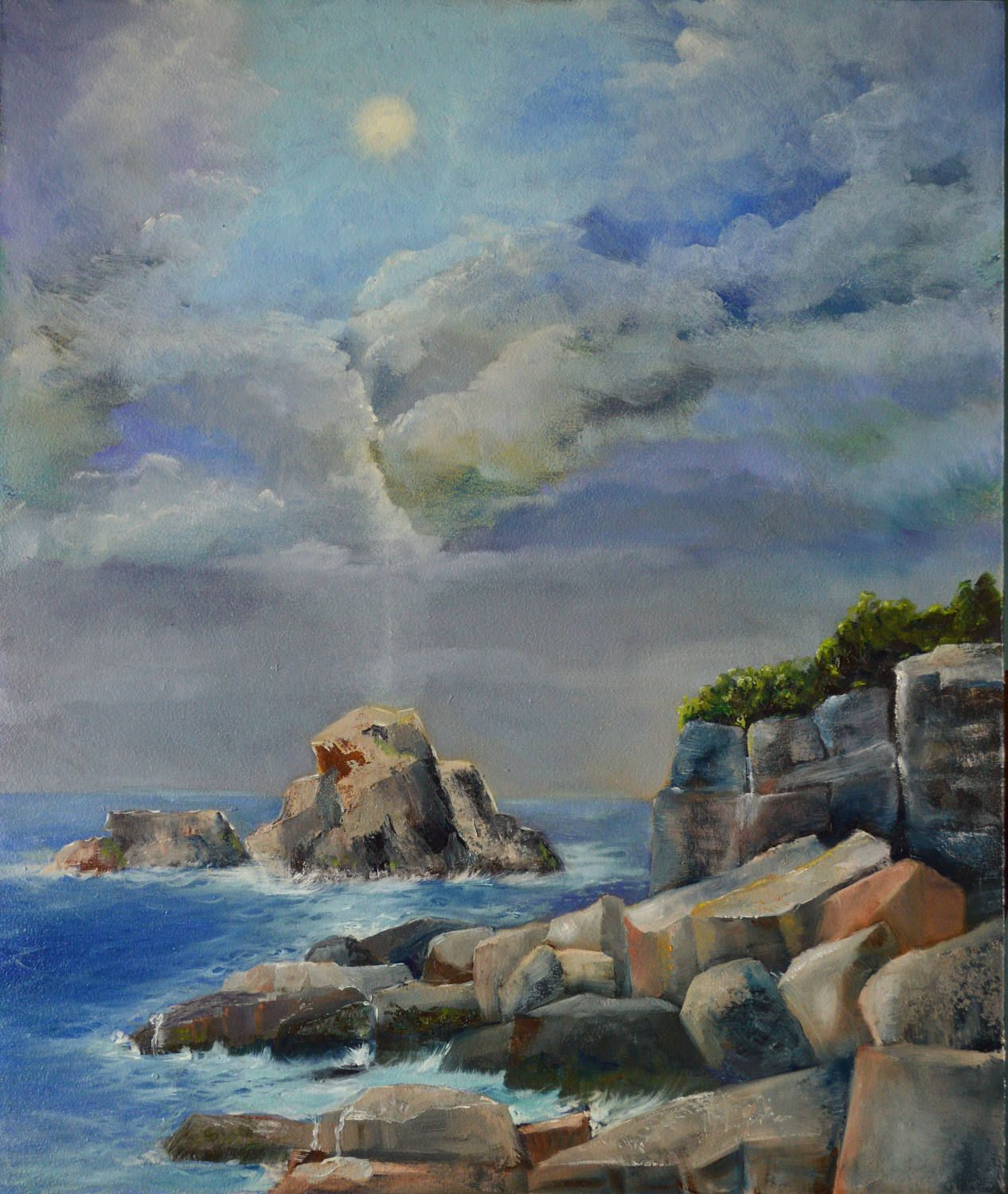 Original Oil Painting Coastal Seascape Pacific
