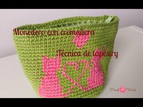 Monedero crochet con cremallera tejida y tecnica de tapestry ...