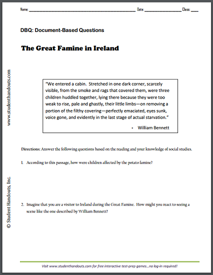 The Great Famine in Ireland by William Bennett - DBQ worksheet is ...