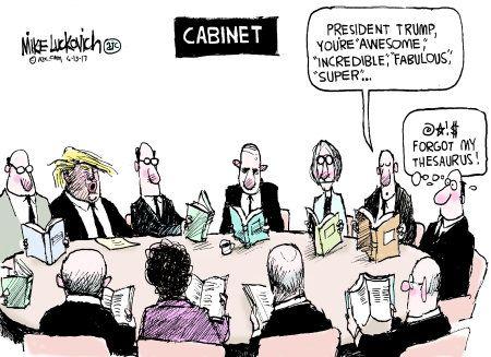Political Cartoon U.S. Trump Cabinet Compliments