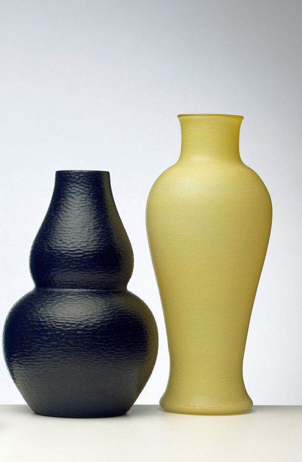 Thick Black Glass Vase With Battuto Finish C1940 Yellow Cased