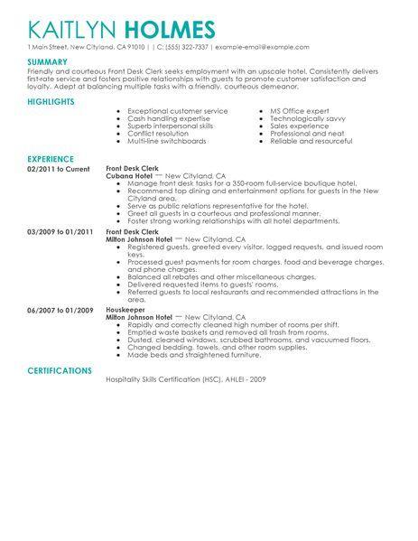 resume Resume design Pinterest - hotel front desk resume