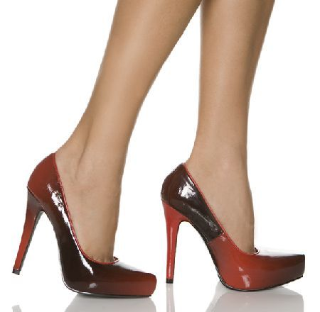 The Highest Heel Shoes Catwalk 11 Red Patent Brown pointed toe shoes with  colour gradation pattern e09a055ca513