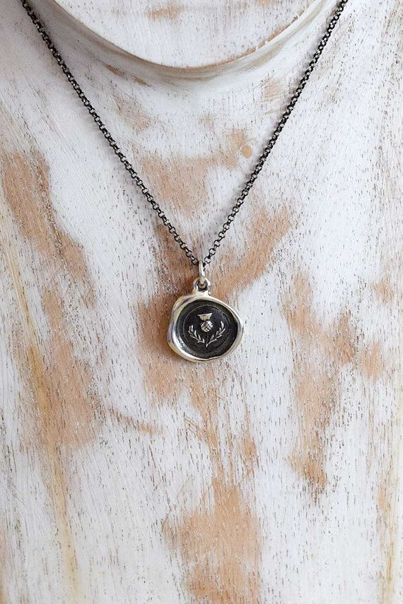 Scottish Thistle Wax Seal Necklace Scottish Jewelry 344