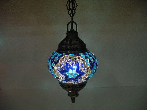 electrical blue lantern glass light lamp  Türkische by meryemart