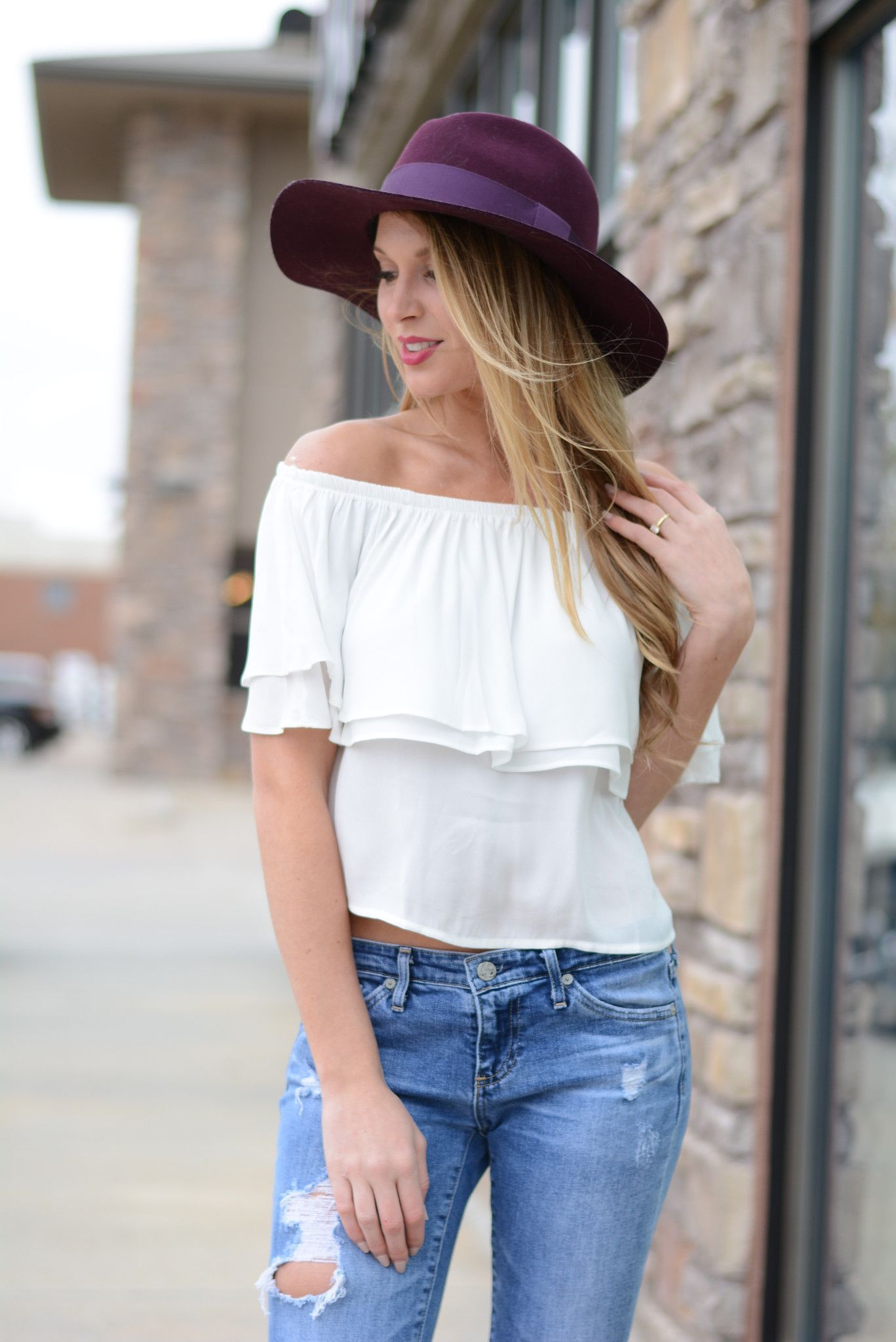For The Frills Off The Shoulder Top Foi Clothing Boutique Off The Shoulder Trendy Top Must Have Buy N Trendy Tops Boutique Clothing Fall Fashion 2016