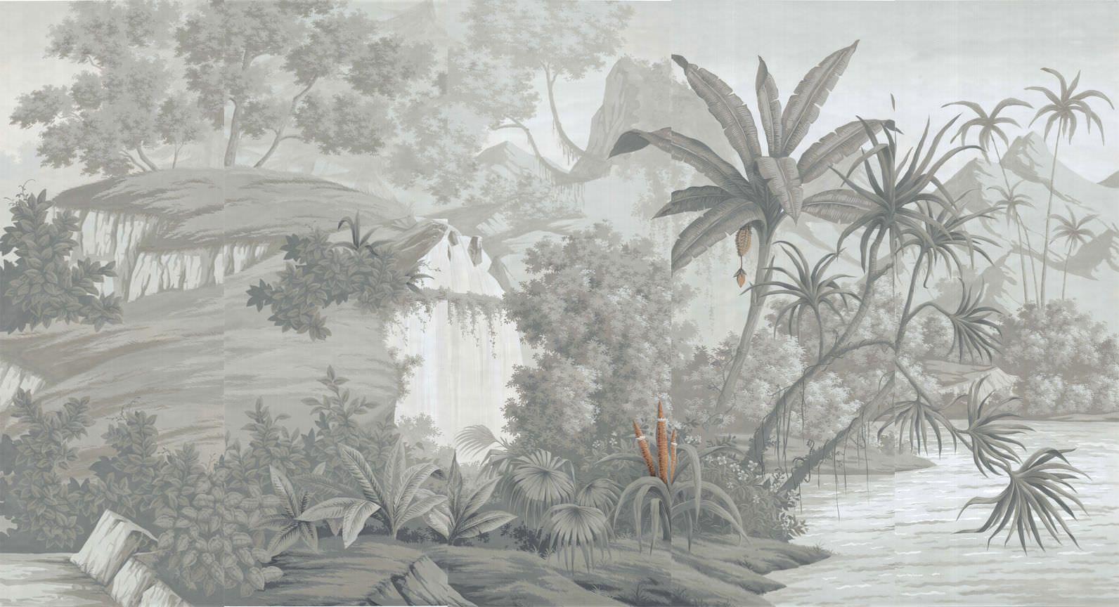 Traditional wallpaper / nature pattern / panoramic