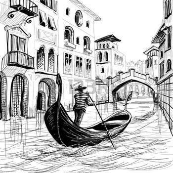 Gondoles Gondole A Venise Vecteur Sketch Dessin Italie Dessin