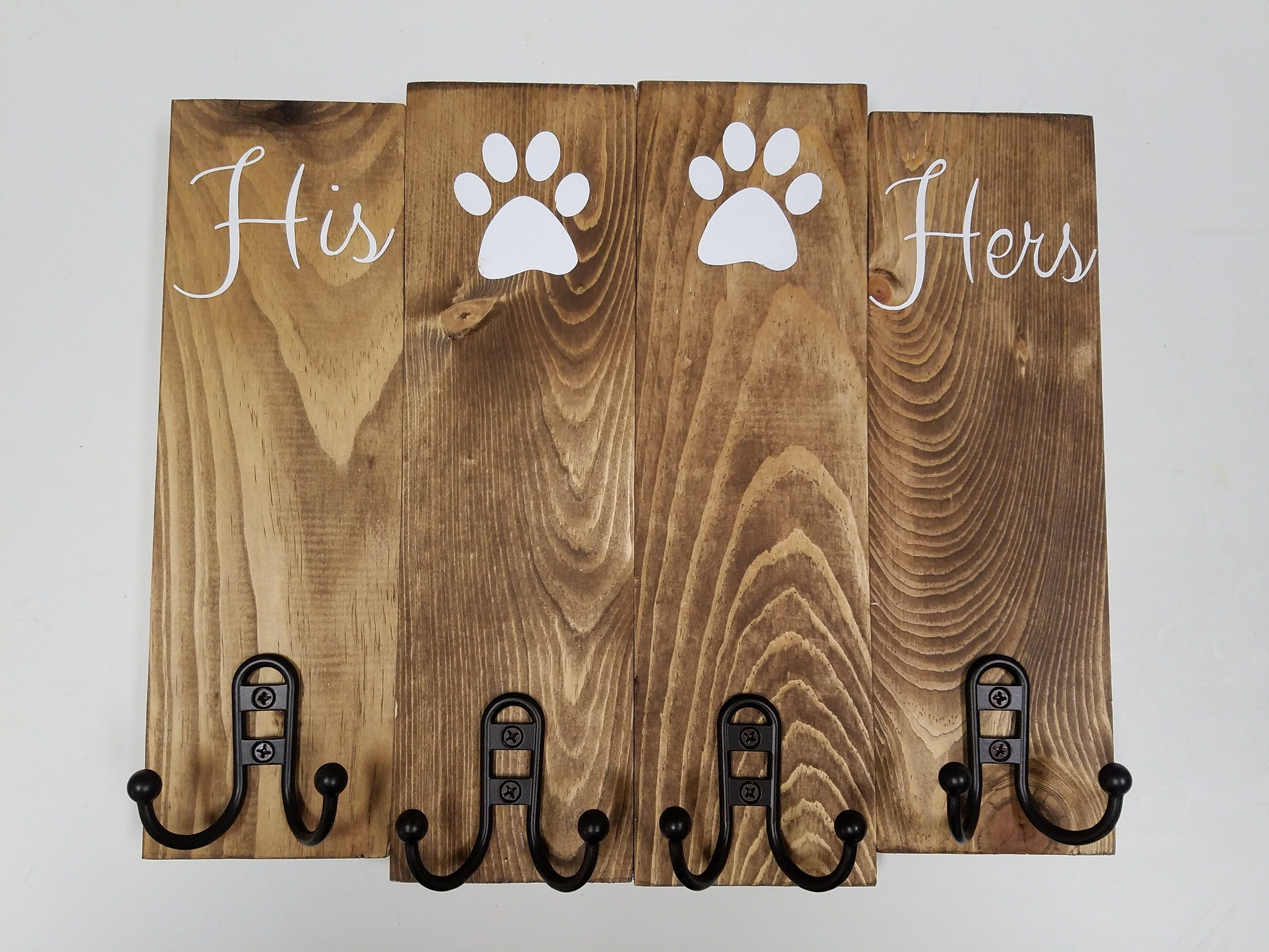 Perfect His Hers Key Holder For Multiple Pets So Cute His Hers Dog Key Holder Dog Leash Holder With Hooks Gift Wood S Dog Leash Holder Dog Leash Dog Decor