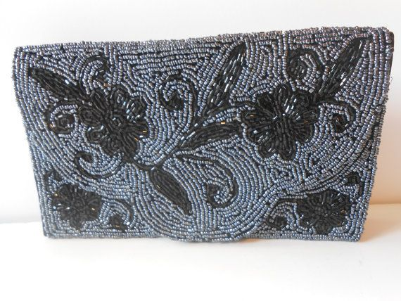 Beaded Evening Bag Elegant Crystal and Bead by LittleBitsofGlamour, $34.00
