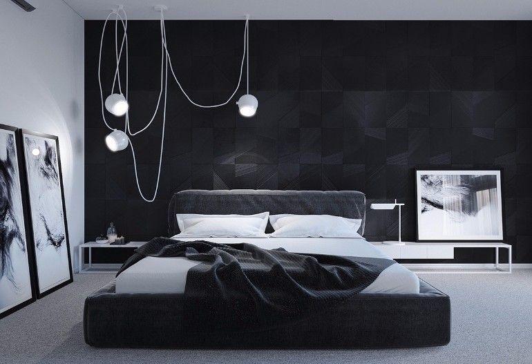 Sleek Und Modern Black And White Schlafzimmer Ideen Dunkle