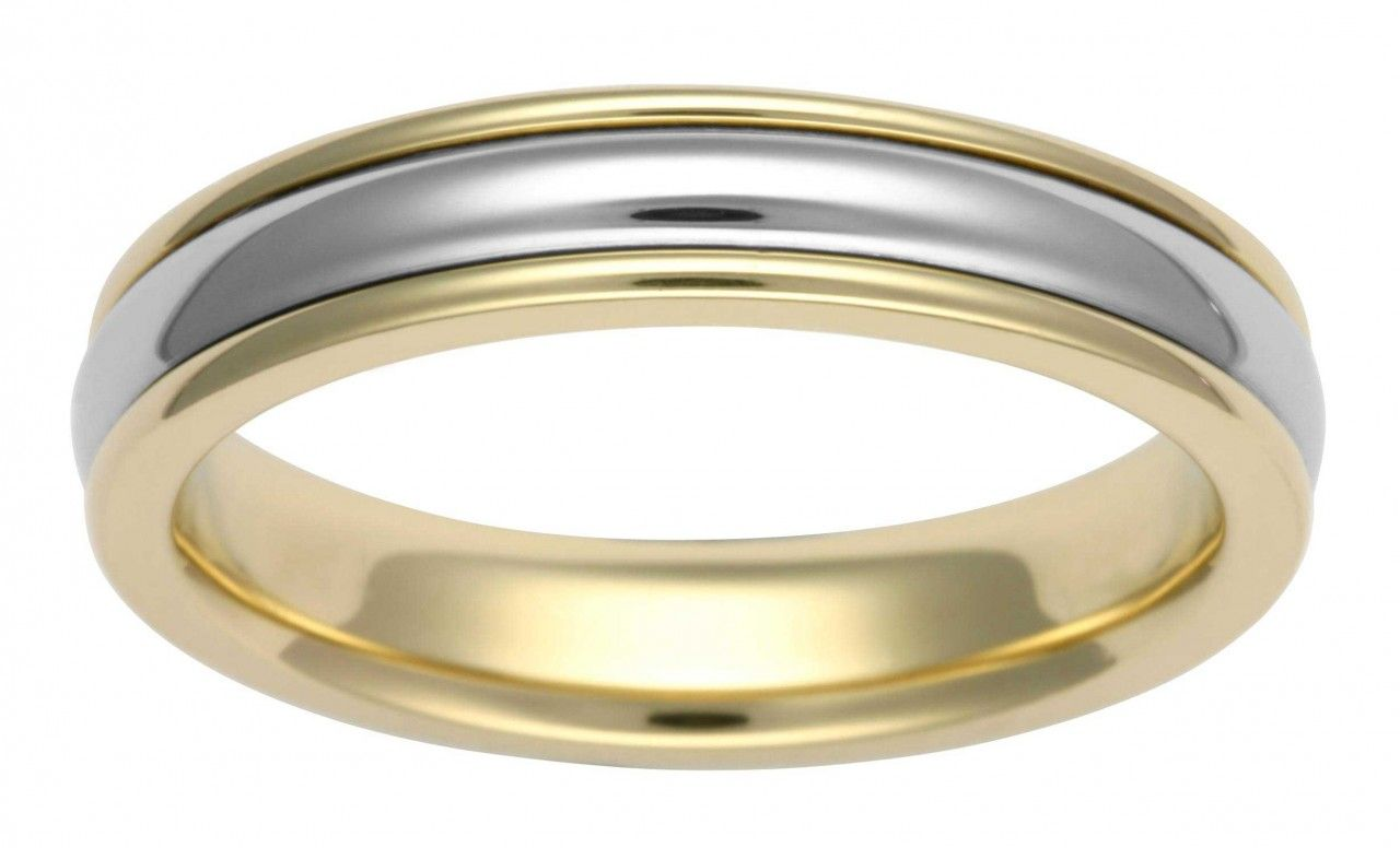 two tone wedding band 4mm two tone wedding band would love this with rose gold instead of the yellow