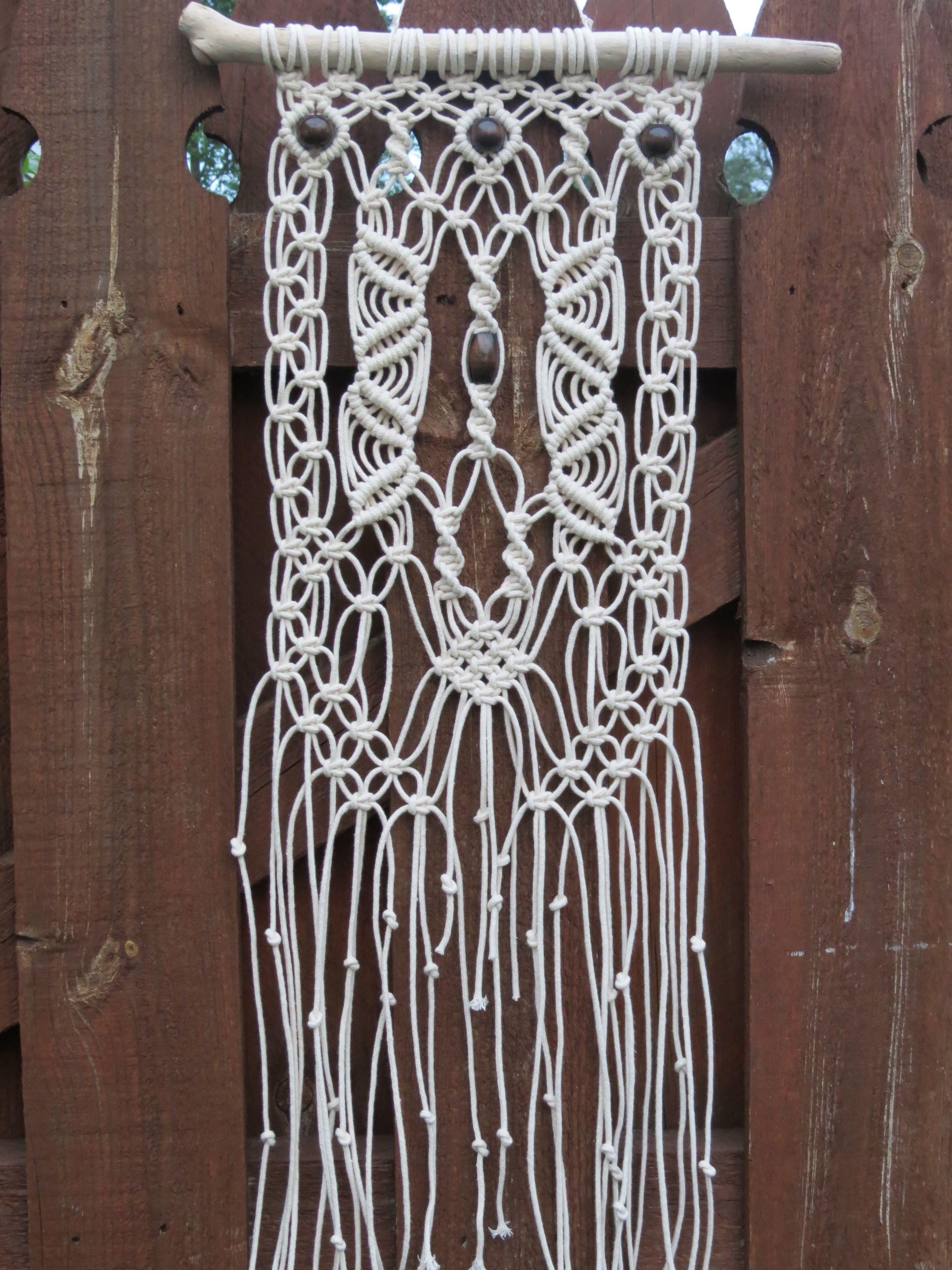 White Cotton Macrame Wall Hanging Art Tapestry Boho Chic Driftwood Modern Wedding Decor