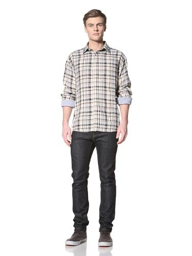 68% OFF Road Men\'s Plaid Linen Shirt (Khaki)