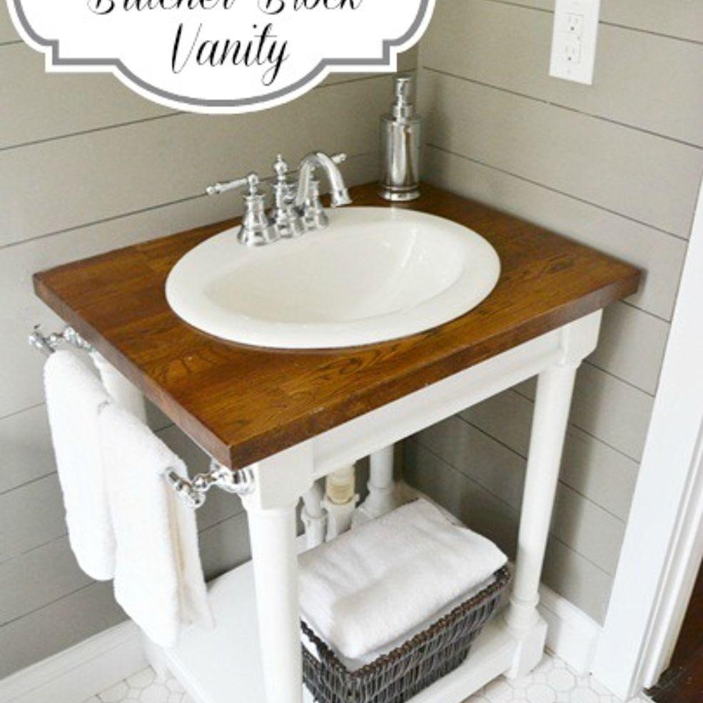 How To Build A Butcher Block Vanity Diy Bathroom Vanity