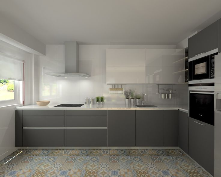 Resultado de imagen de cocina gris y blanca | muebles | Pinterest ...