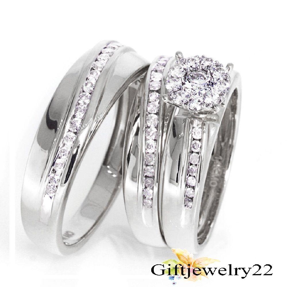 14K White Gold Men Women His Her Diamond Trio Ring Engagement