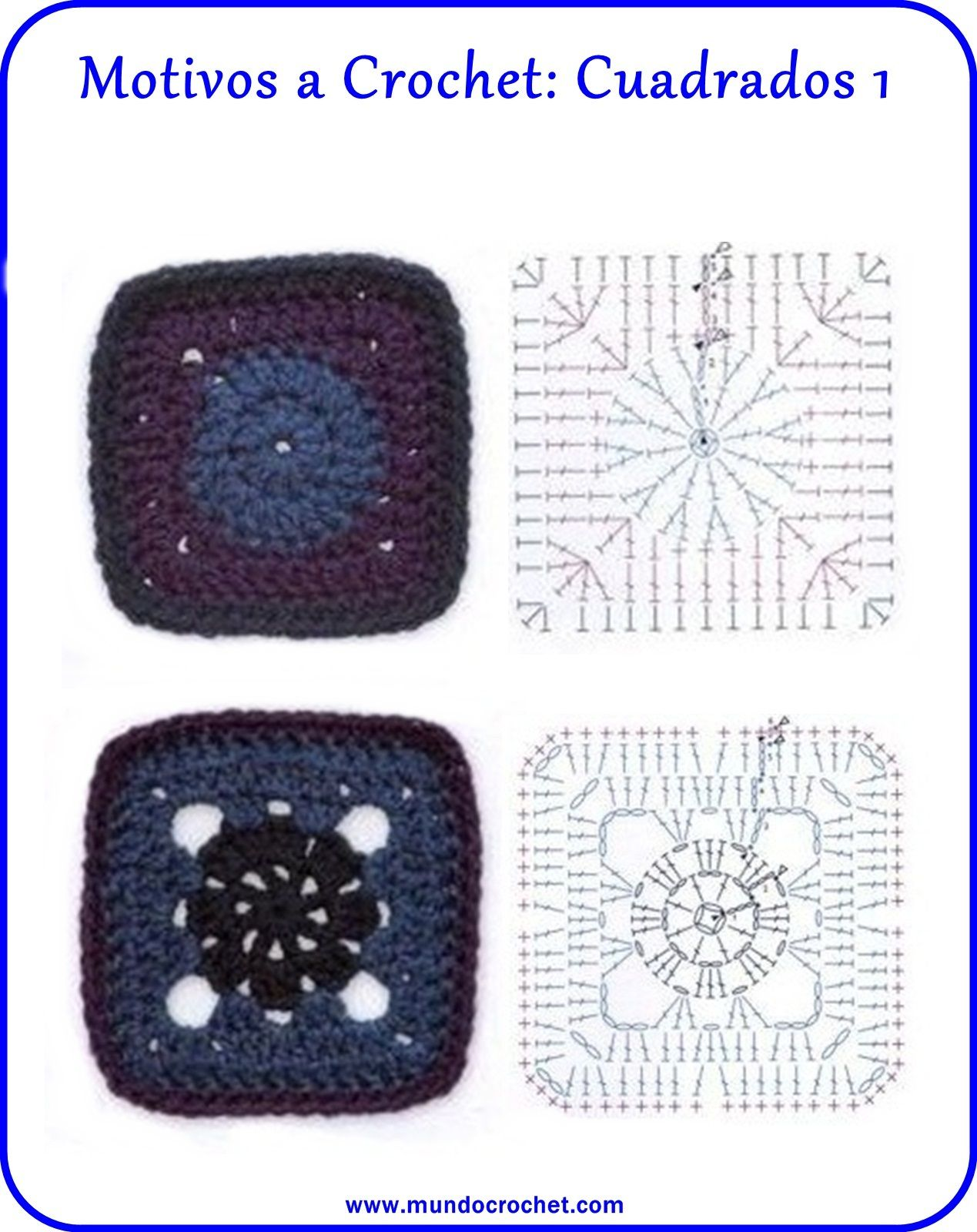 motivos cuadrados crochet   Crochet square   Pinterest   Cuadrados ...