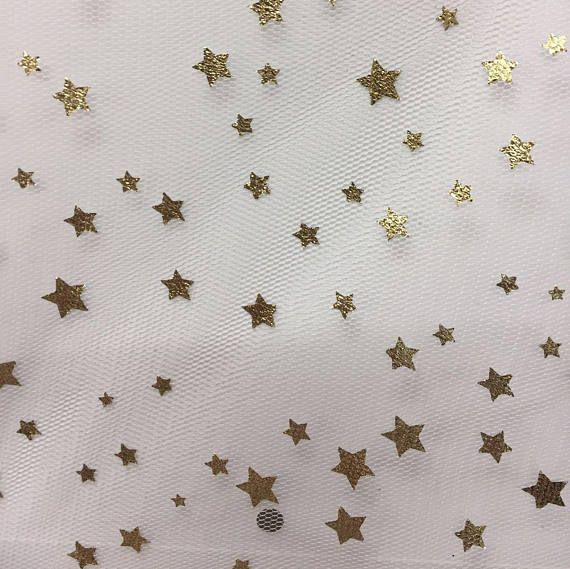 Shining gold small stars pattern lace fabric by the yard,wedding dress tulle fabric,DIY Material,2 colors,Width 55 inches