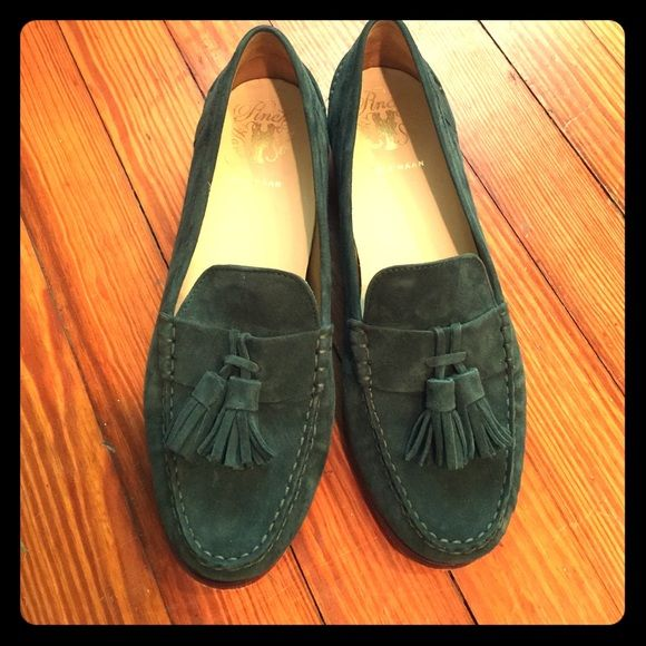 Like new Cole Haan suede loafers size 8.5 These are in excellent condition. Only worn once. Very comfortable as Cole Haan is known for. Color is almost like a hunter green/emerald. Smoke and pet free home. Cole Haan Shoes Flats & Loafers
