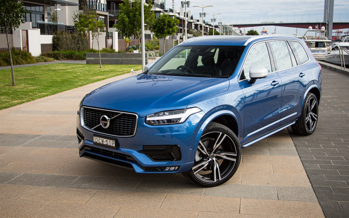 Wallpapers Volvo Xc90 2017 Suv Blue Tuning Swedish Cars