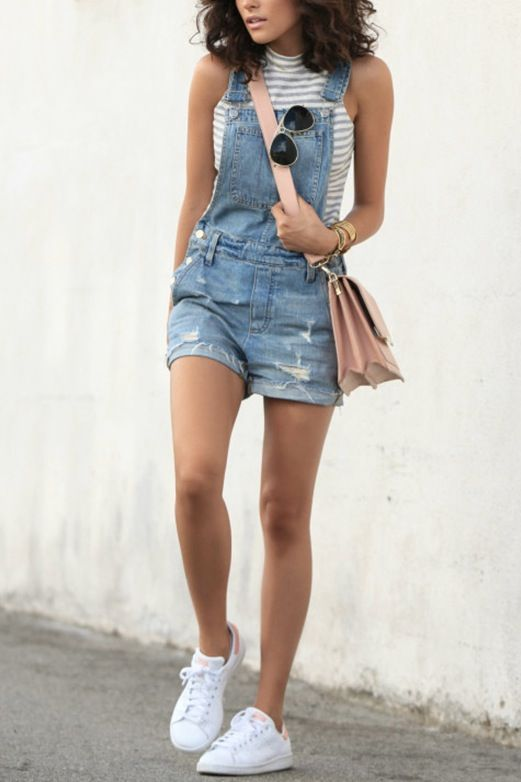 Short Jumper Outfit : short, jumper, outfit, Outfits, White, Sneakers, Outfit,, Overall, Shorts, Outfit, Summer