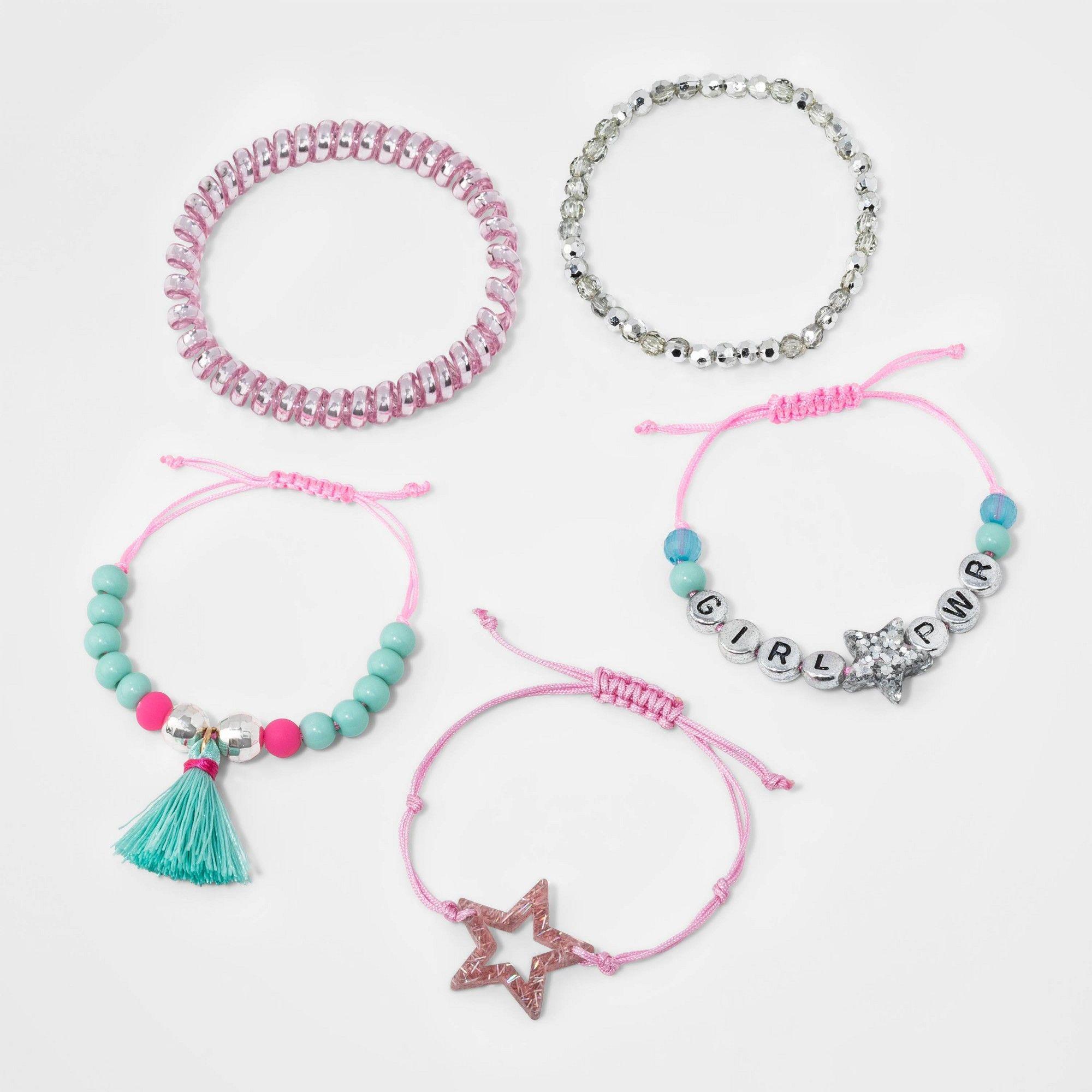 Girls 5pk Girl Power Mixed Bracelet Set Cat Jack Women S Multicolored Pony Bead Bracelets Girl Bracelets Bracelet Set