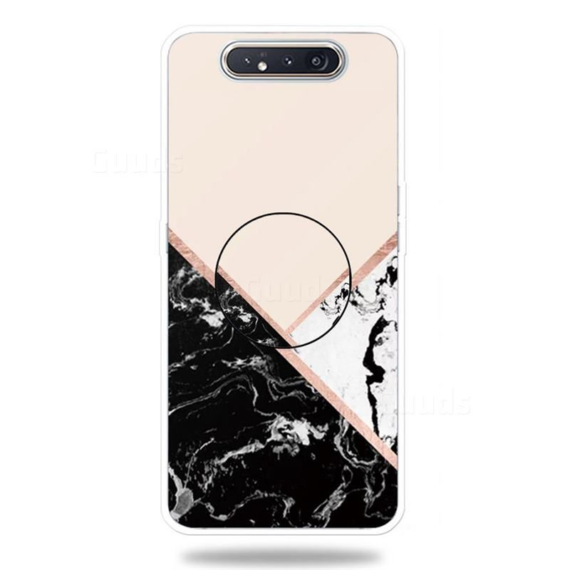 Black White Marble Pop Stand Holder Varnish Phone Cover for Samsung Galaxy A80 A90 - Galaxy A80 A90 Cases - Guuds
