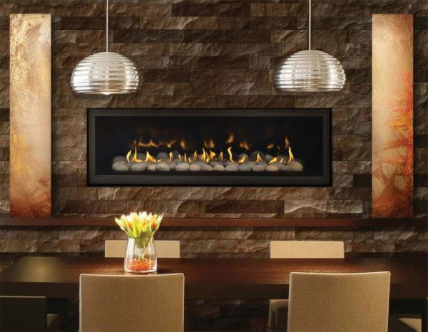 Modern Dining Room Decoration Stone Fireplace Surround Linear Design Ideas
