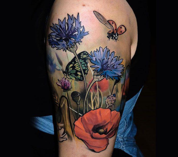 1001 blumen tattoo ideen und informationen ber ihre bedeutung tattoos pinterest farbig. Black Bedroom Furniture Sets. Home Design Ideas