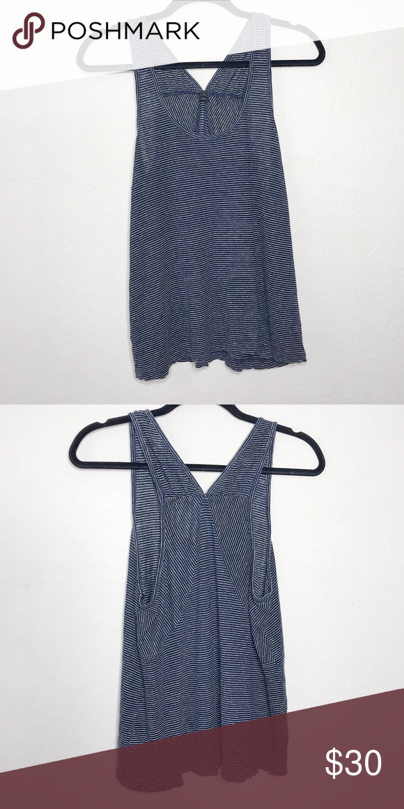 3ab15f119f85 J.Crew 100% Linen Navy Striped Tank Top Navy and white striped tank top.  V-neck Cut in the back. J. Crew Tops Tank Tops