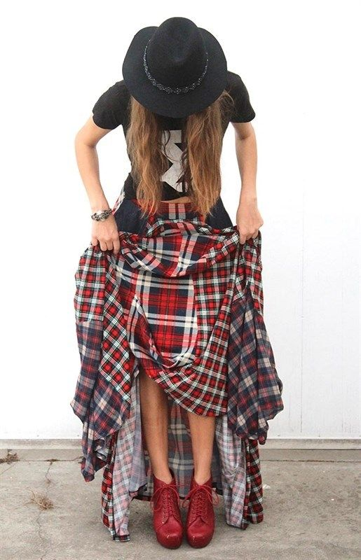 753f4353c8 The Damsel`s Maxi SkirtBEST SELLER!!!•Red toned plaid/flannel bouncy skirt•  Plaid elastic waist band• Dark blue denim patch pockets• It`s totally  perfect ...
