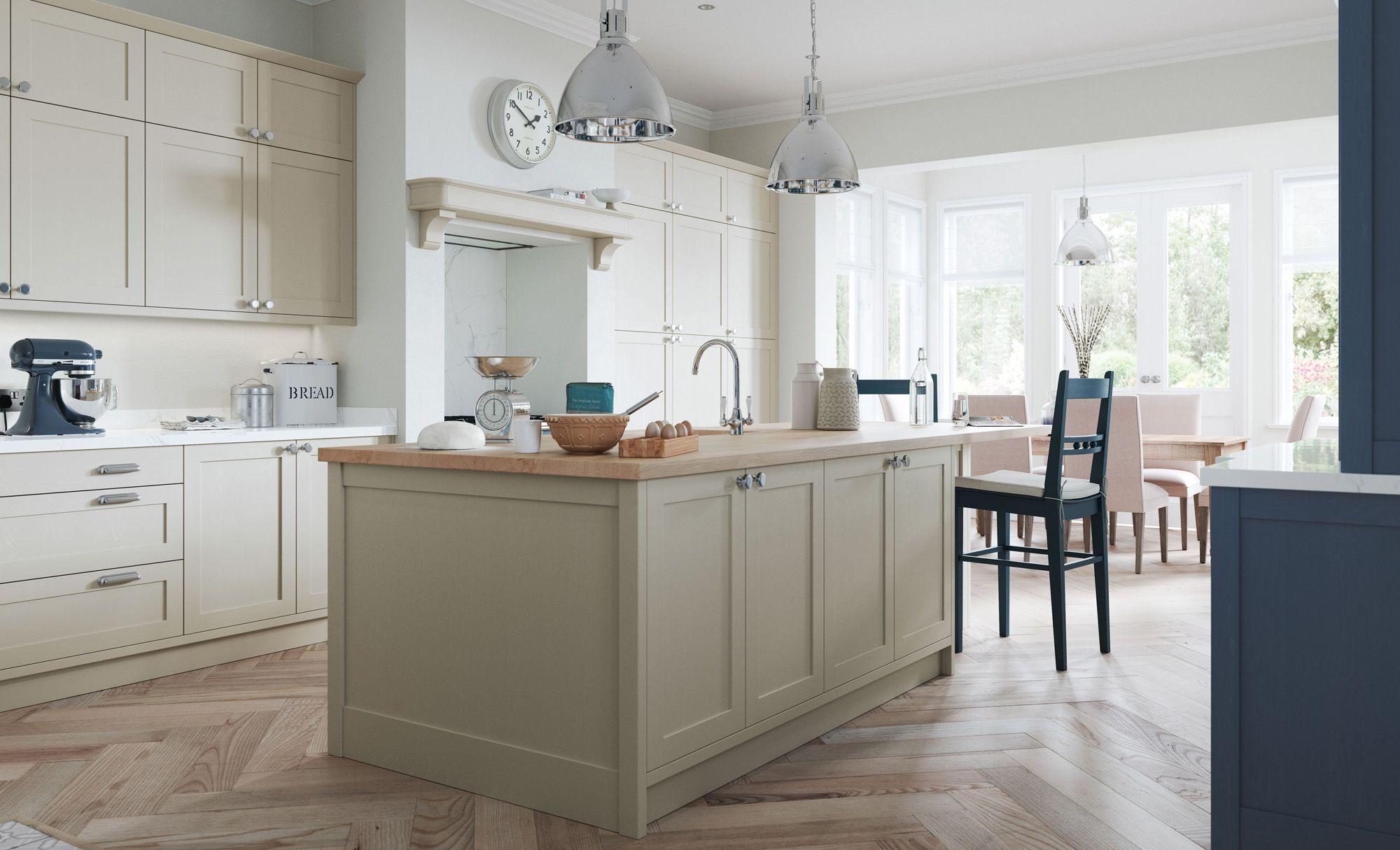Classic Modern Aldana Shaker Style Kitchen In Painted Stone