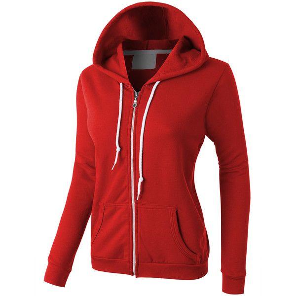LE3NO PREMIUM Womens Lightweight Vintage Zip Up Sweatshirt Hoodie ($30) ❤ liked on Polyvore featuring tops, hoodies, zip up hoodie, zip up hooded sweatshirt, fleece zip up hoodie, hoodie sweatshirts and red zip up hoodie