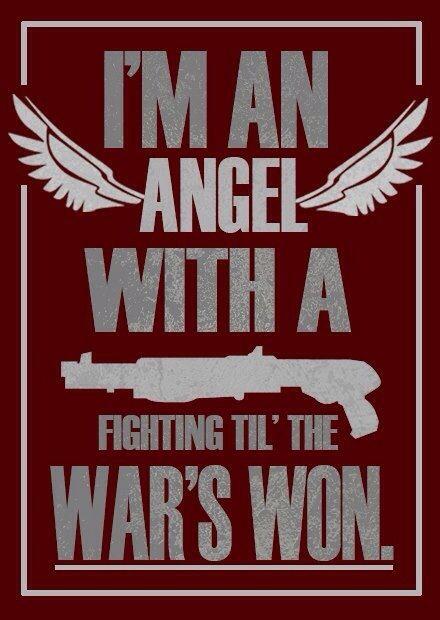 Angel tattoos and lots of guns >:)